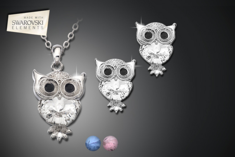 £12.99 instead of £95 (from Zoo Jewellery) for a Swarovski Elements owl pendant and earring set - save 86%