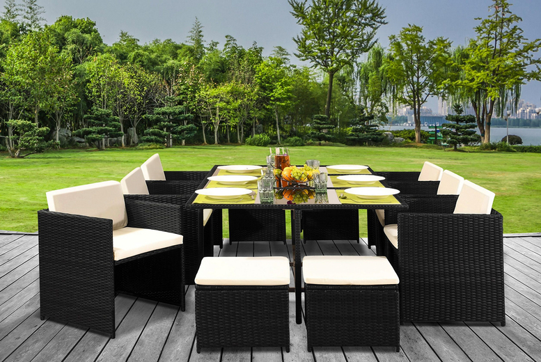 11-pc Rattan Dining Set – Cover Option! (£455)