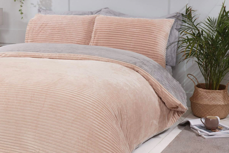 £18.99 (from Five Minutes More) for a single champagne ribbed teddy fleece duvet cover, £24.99 for a double, £29.99 for a king or £31.99 for a super king