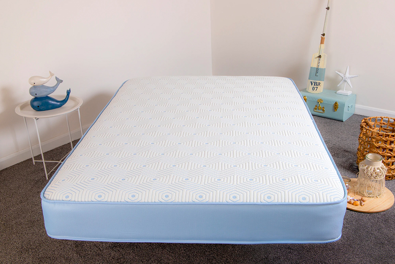 From £59 instead of £249.99 (from Desire Beds) for a small single recycled plastic bottles ocean blue memory foam mattress – choose your size and save up to 76%