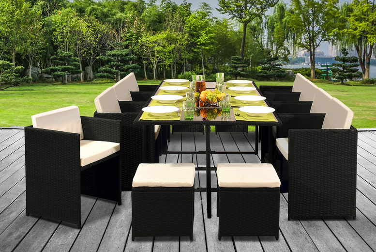£565(from UKFurniture4U) for a 13 piece low back polyrattan cube dining set or £590 for a set with a protective cover