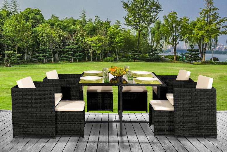 Rattan 9Pc Low-Back Cube Dining Set with Cover Option – 5 Colours! (£299)