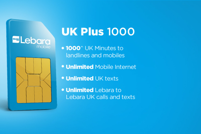 £10 instead of £20 (from Lebara Mobile) for a UK Plus 1000 SIM card inc. 'unlimited' internet & texts for 30 days - save 50% + delivery is included!