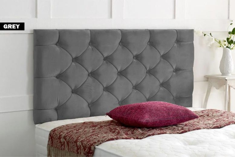From £29 instead of £64.99 for a chesterfield plush velvet headboard from Serene Living – save up to 55%