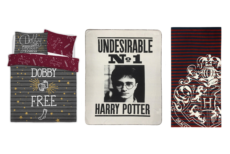 £6.99 (from Five Minutes More) for a Harry Potter towel or fleece, £14.99 for a single reversible duvet cover set or £19.99 for a double