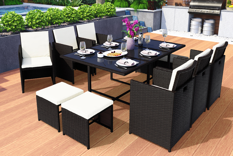 11pc 'Vegas' Cube Rattan Dining Set – 3 Colours! (£479)