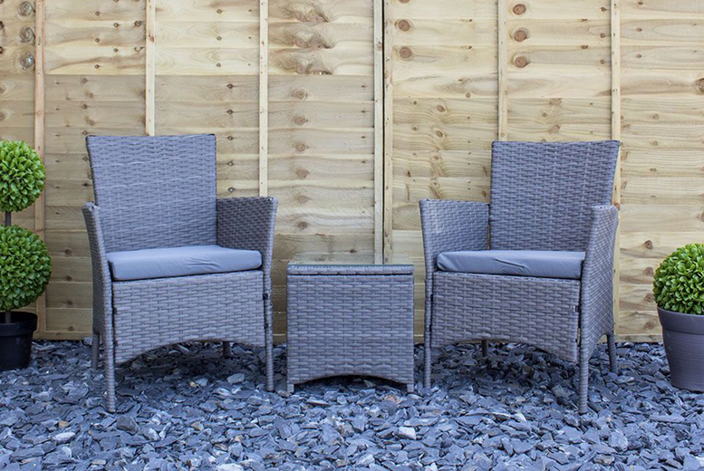 3pc Chatsworth Grey Rattan Bistro Furniture Set (£119)