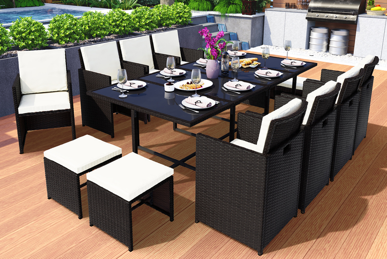"13pc ""˜Vegas' Rattan Cube Furniture Set – 3 Colours! (£599)"
