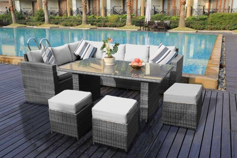 9-Seater L-Shape Rattan Dining Set – 3 Colours! (£579)
