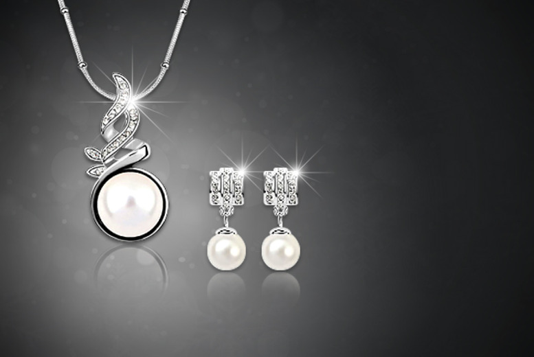 £12 instead of £100 (from Boni Caro) an 18k gold-plated flame pearl earring and pendant necklace set with crystal elements - save 88%