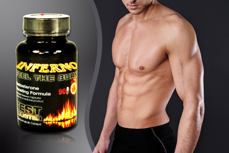£9 instead of £31 (from GB Supplement) for a 1-month* supply of Inferno 'testosterone-boosting' capsules, £18 for a 3-month* supply - save up to 71%