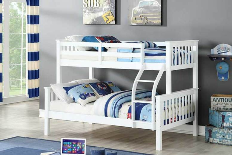 £189 (from The Furniture Department) for a triple sleeper bunk bed, or £299 to include two mattresses