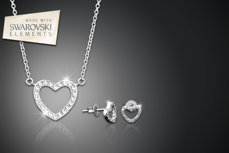 £10 (from Jewel Unique) for an 18ct white gold-plated pavé heart pendant necklace with Swarovski Elements, £13 with earrings - save up to 90%
