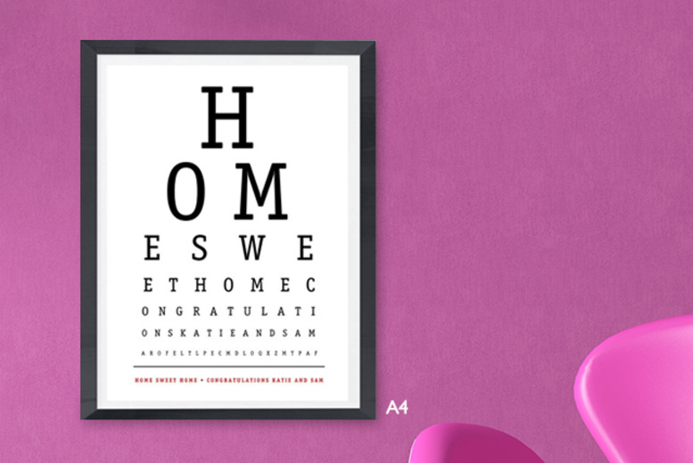 £9.99 instead of £30 (from Prints with Feelings) for a personalised 'eye test' framed print – save 67%