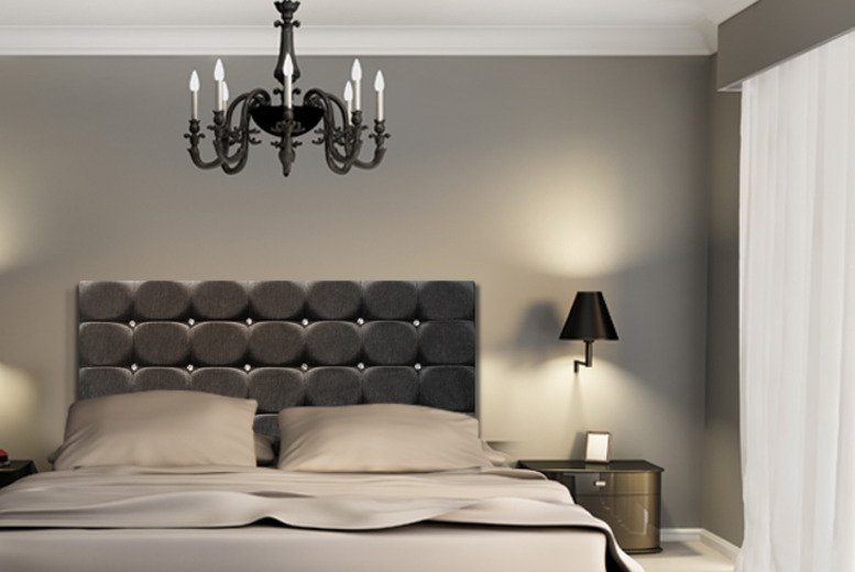 £39.99 for a black, mink or ivory chenille & diamanté headboard from Sueno - save up to 79% + delivery included!