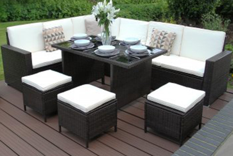 9-Seater Rattan Brown Corner Dining Garden Set (£479)