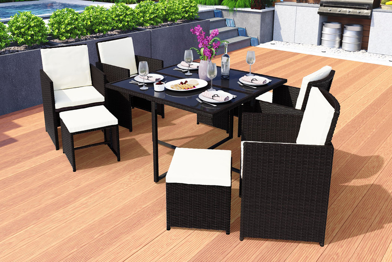 9-Piece Rattan Dining Garden Set – 3 Colours! (£329)