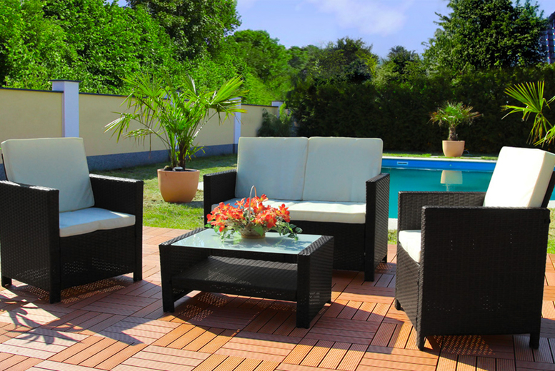 4 Seater Miami Rattan Garden Furniture Set – 3 Colours! (£249)