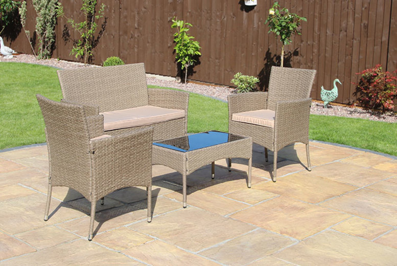 Eton 4pc Rattan Outdoor Furniture Set- 4 Colours! (£99)