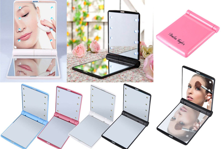 Personalised Folding LED Makeup Mirror - 4 Colours!