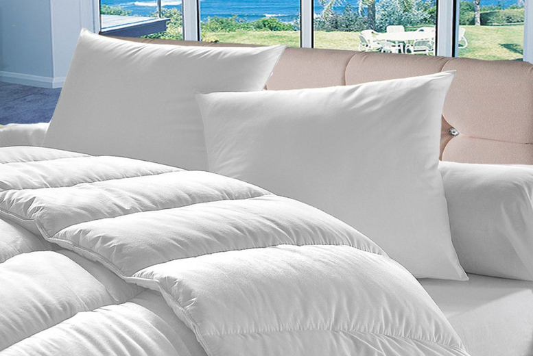 From £14.99 instead of £39.99 (from Direct Warehouse) for a single 7.5 tog summer duvet and four pillows – choose your size and save up to 63%