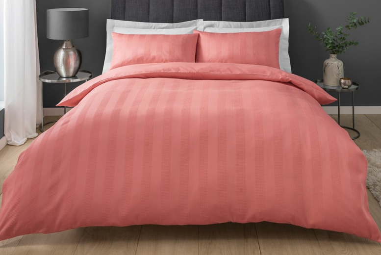 £9.99 (from Five Minutes More) for a single Sleepdown stripe waffle bedding set, £13.99 for a double, £15.99 for a king and a £16.99 for a super king