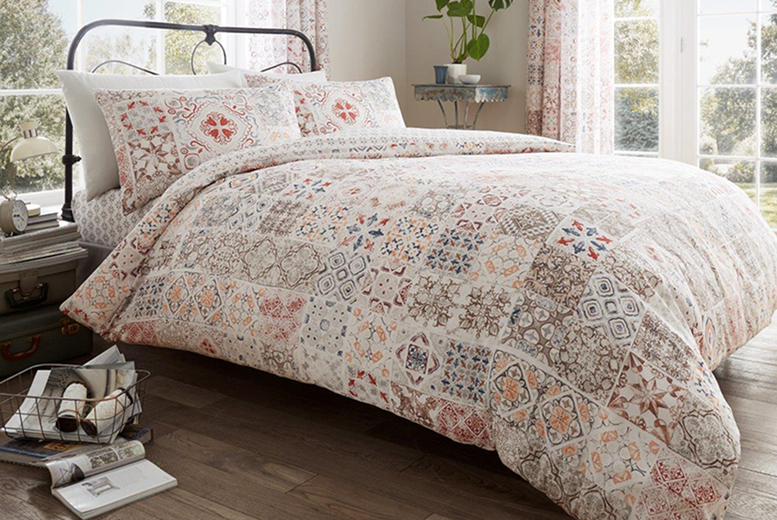 £9.99 (from Victoria Home Living) for a double patchwork duvet cover set or £11.99 for a king – choose your colour