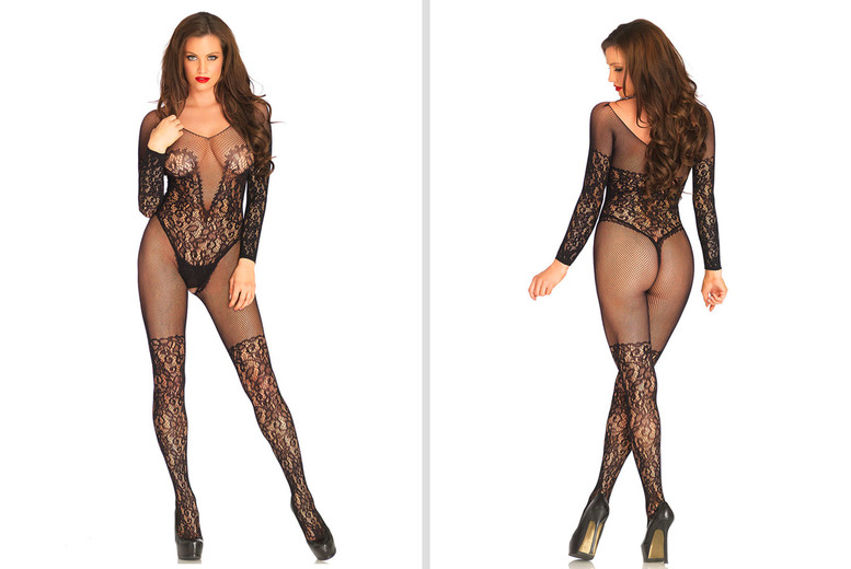 Black Lace and Fishnet Body Stocking – One Size!