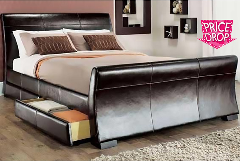£109 instead of £569.01 (from Giomani Designs) for a double faux-leather sleigh storage bed frame, £129 for a king size - save up to 81%