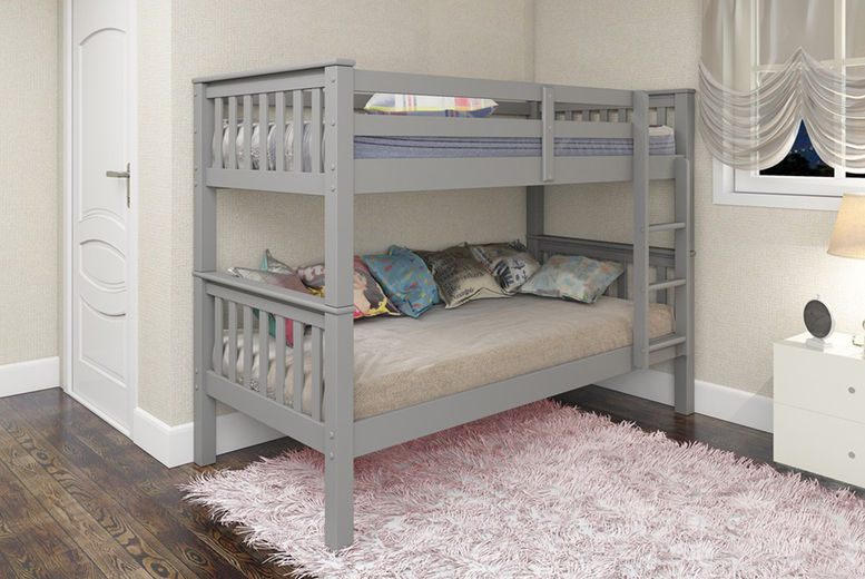 £199 instead of £469.01 (from The Furniture Department) for an Oxford wooden bunk bed, or £289 for a bunk bed with two optional mattresses – choose from grey, oak or white and save 58%
