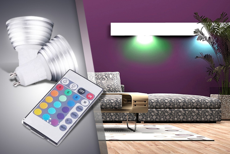 £14 instead of £29.98 (from Gizmo Gadgets) for 2 colour-changing ceiling light bulbs with remote controls, or £25 for 4 - save up to 53%