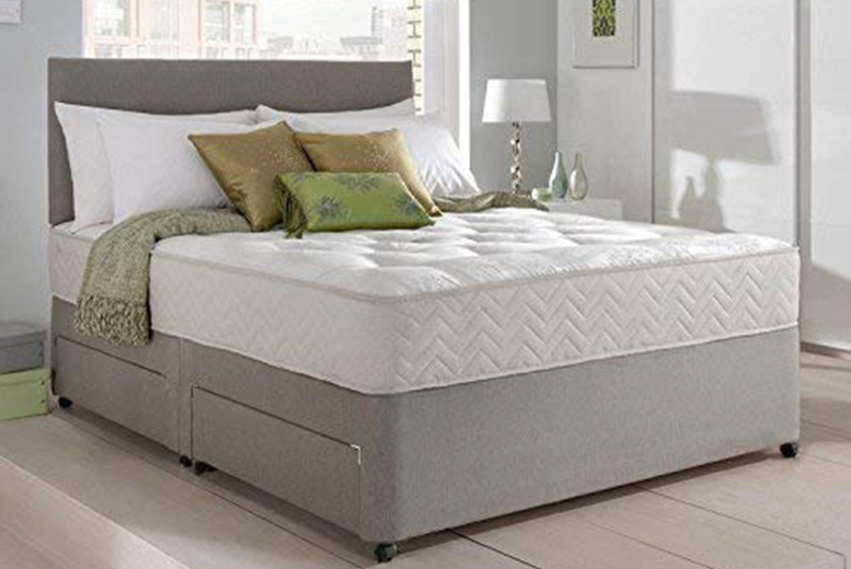 From £99 instead of £340 (from Sleepyn) for a small single suede divan bed with memory foam mattress and headboard with size and colour options – save up to 71%