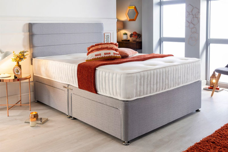 From £105 instead of £321.01 (from Sleepyn) for a luxury grey divan bed set and memory foam mattress – save up to 67%