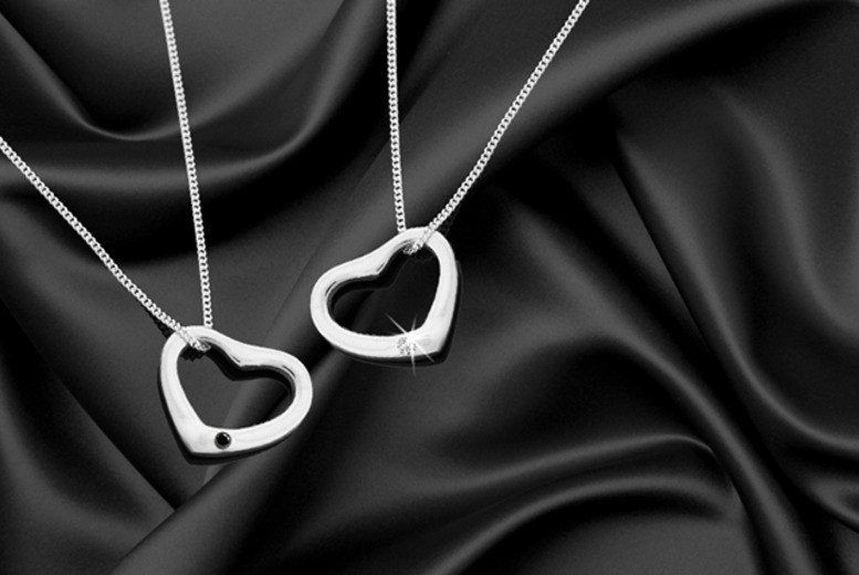 £14 instead of £99.99 (from British Gem) for a sterling silver heart pendant with a black or clear diamond - save 86%