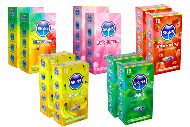 Image of 24Pk Skins Assorted Flavour Condoms   Living Social