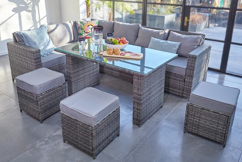 9-Seater L-Shape Rattan Dining Set – 3 Colours! (£659)