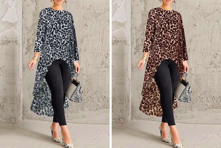 High-Low Hem Leopard Print Top - 8 Sizes and 2 Colours!