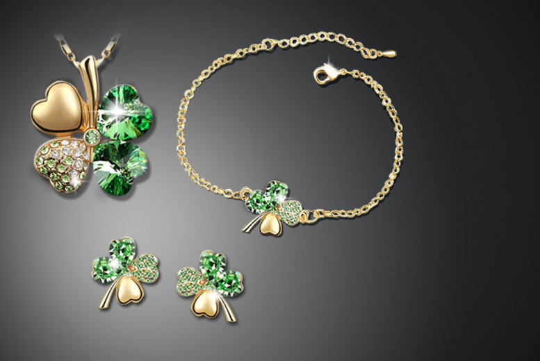£15 instead of £90 (from Cian Jewels) for a Swarovski Elements clover leaf tri set including a necklace, bracelet and earrings - save 83%