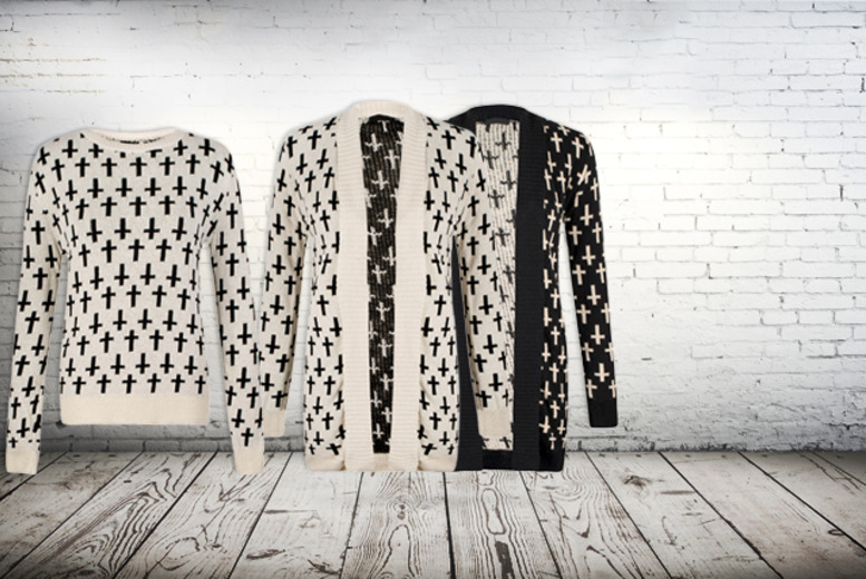 £12.99 instead of £25 (from She Likes) for an oversized cross print jumper or cardigan in a choice of 2 colours - save 48%