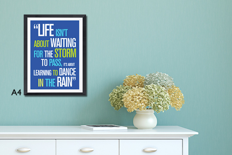 £6.99 instead of £14 (from Prints with Feelings) for an A4 inspirational quotes poster, or have it framed for £9.99 - save up to 50%