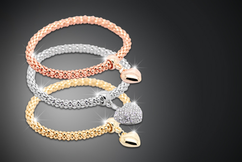 £9 instead of £50 (from Cian Jewels) for a set of three heart charm bracelets – save 82%