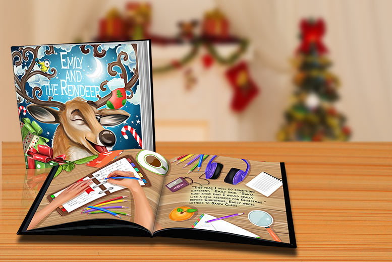 £5 instead of £14.99 (from Dinkleboo) for a softback kids' personalised Christmas storybook, £7 for a hardback book – save up to 67%