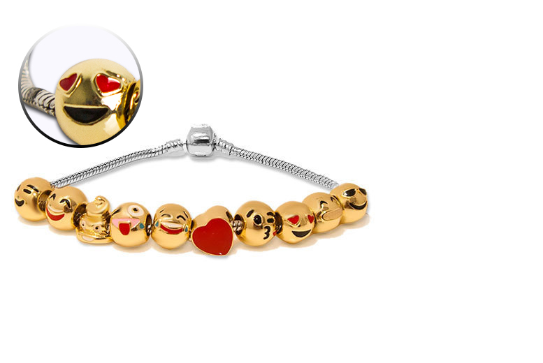 £12 instead of £77.01 (from My Boutique Store) for an emoji gold-plated charm bracelet - get glam and save 84%