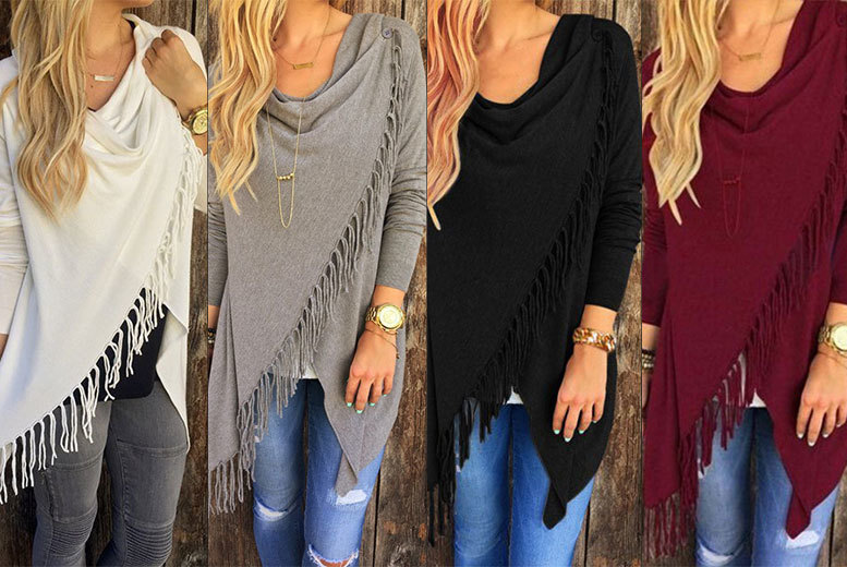 £12 instead of £50 (from Bonicaro) for a boho tassel jumper - choose from white, grey, black and wine and save 76%