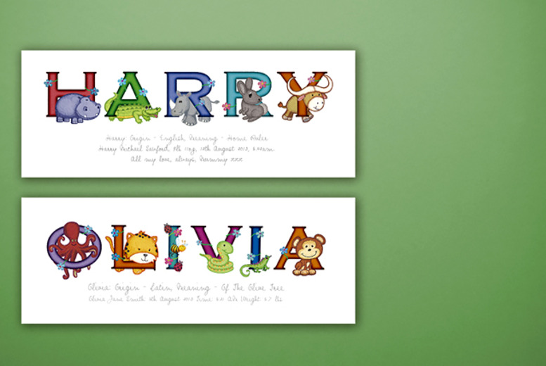 £7 instead of £25 (from Frame My Name) for a children's personalised animal name print - save 72%