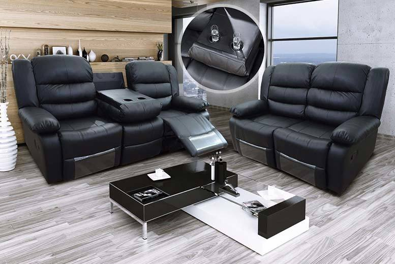£299 instead of £999 (from Furnistop) for a two seater romina leather recliner sofa, £329 for a three seater with cup holders, or £549 for both – save up to 70%