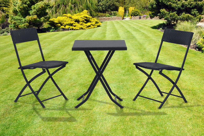 3pc Black Rattan Garden Furniture Set (£74)