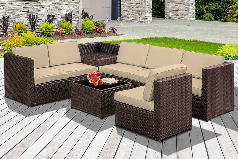 8pc Rattan Sofa Furniture Set w/Cushions – 2 Colours! (£699)
