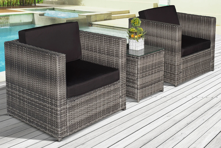 3pc Rattan Garden Furniture Set with Cushions – 3 Colours! (£329)
