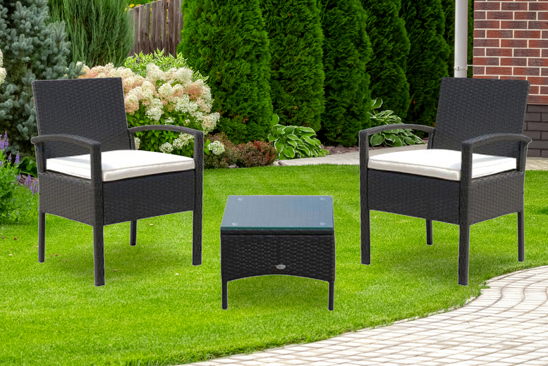 3pc Garden Rattan Bistro Set – 2 Colours! (£159)